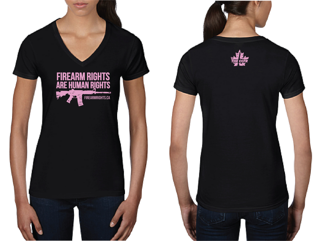 Ladies CCFR Human Rights Tee - Pink on Black