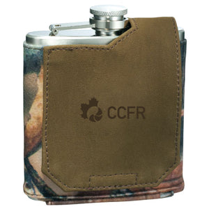 Classic CCFR Logo Flask w/ Leather Pouch