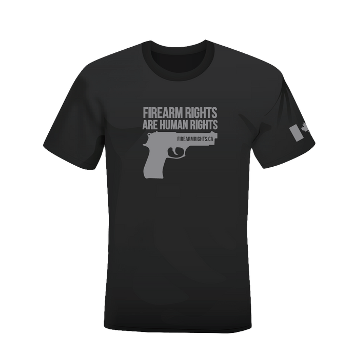 CCFR Human Rights Support T-Shirt - Grey on Grey Handgun