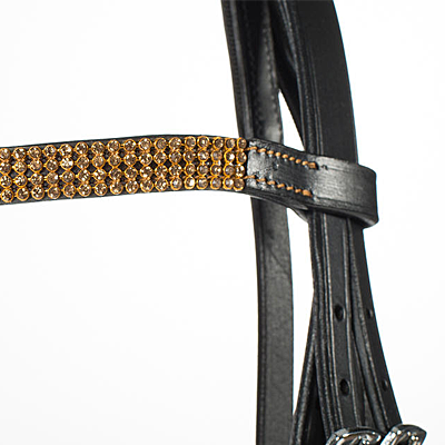 black/gold pony bridle