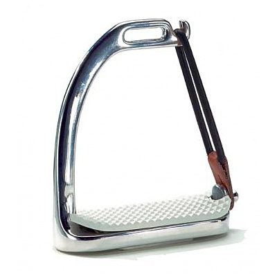 Union Hill Polished Stainless-Steel Safety Stirrup Irons with white pads