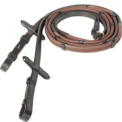 dark brown horze soft grip rubber reins with stoppers