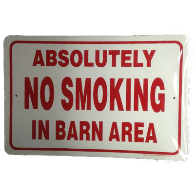 no smoking in barn area sign