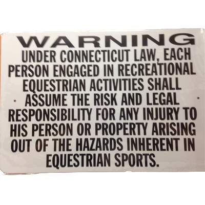 Connecticut Equestrian Activity Warning Sign