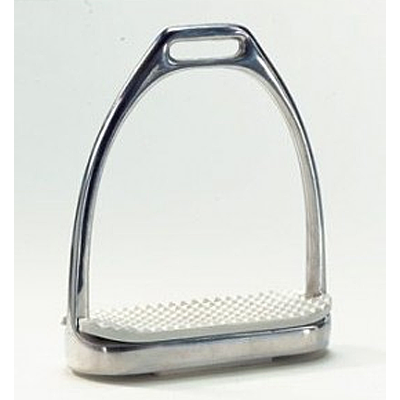 Union Hill Polished Stainless Steel Fillis Stirrup Irons with white pads