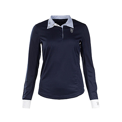 peacoat dark blue Horze Blaire Women's Long-Sleeved Functional Show Shirt