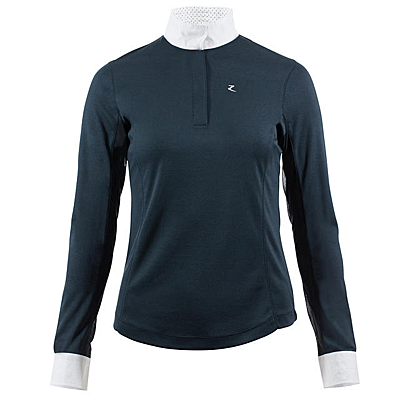 very dark blue Horze Blaire Women's Long-Sleeved Functional Show Shirt