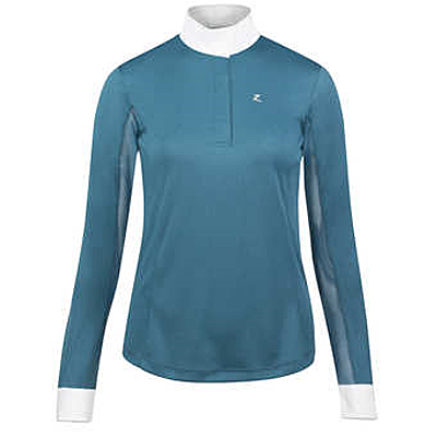 indian teal blue Horze Blaire Women's Long-Sleeved Functional Show Shirt
