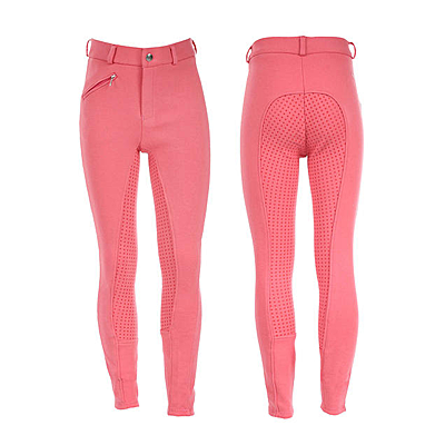 peony pink Horze Junior Active Silicone Grip Full Seat Breeches