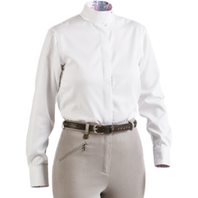 Royal Highness  Equestrian Herringbone Coolmax Wrap Collar Shirt - 68200