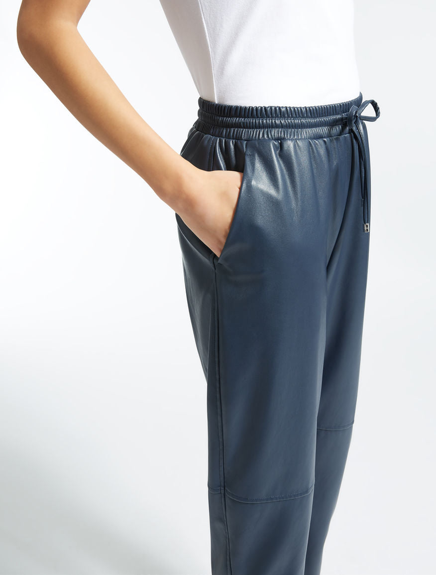 Trousers in coated fabric (navy) by MaxMara