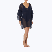 Ruffle sleeve cover up in black by Michael Kors