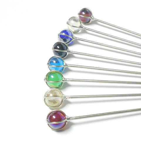 Steel Hair Stick with Iridescent Caged Glass - The Lover's Knot Jewelry