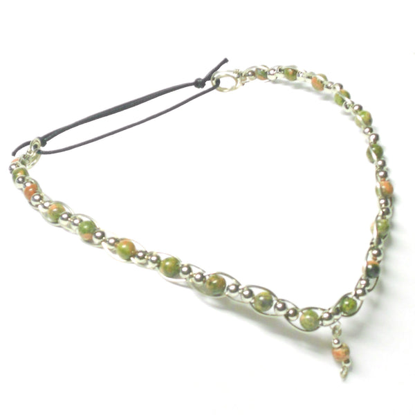 Nickel Silver and Gemstone Circlet - V Style