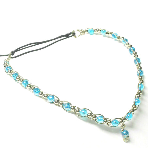 Nickel Silver and Glass Circlet - V-Style - The Lover's Knot Jewelry