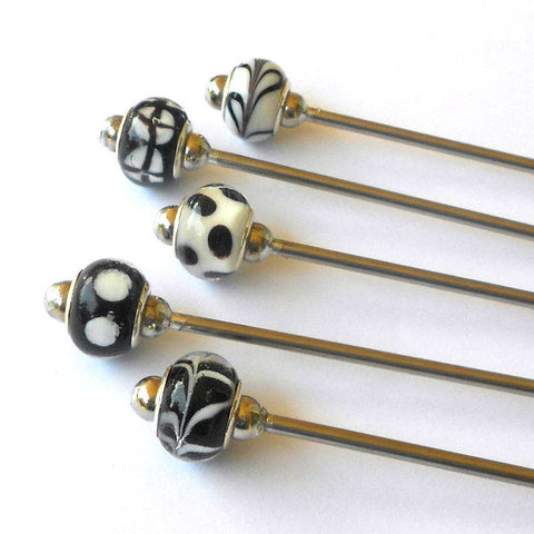 Steel Hair Stick with Black & White - The Lover's Knot Jewelry