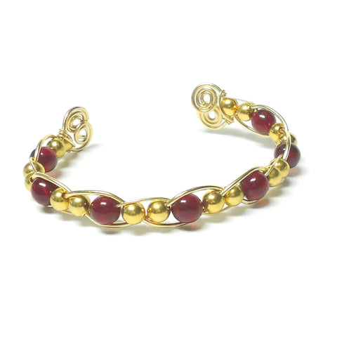 Brass and Gemstone Woven Bracelet - The Lover's Knot Jewelry