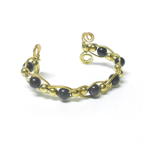 Brass and Gemstone Woven Bracelet - Ram's Horn - The Lover's Knot Jewelry