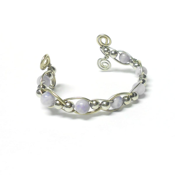 Nickel Silver and Gemstone Woven Bracelet - Ram's Horn - The Lover's Knot Jewelry