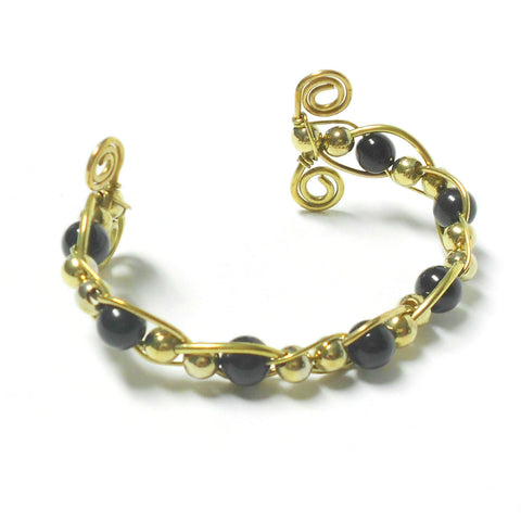 Brass and Glass Woven Bracelet - Ram's Horn - The Lover's Knot Jewelry