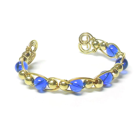 Brass and Glass Woven Bracelet - The Lover's Knot Jewelry