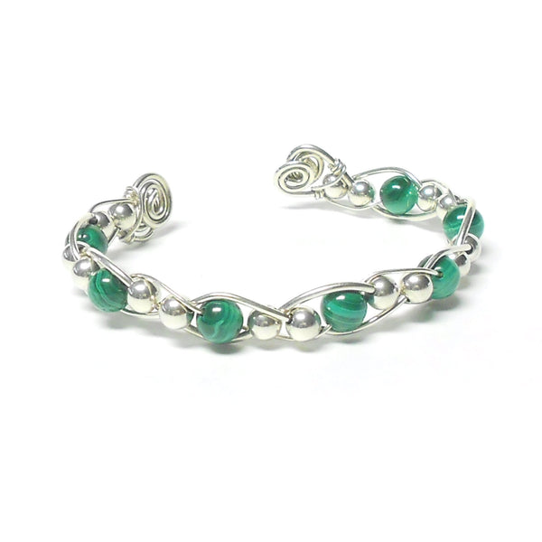 Sterling Silver and Gemstone Woven Bracelet