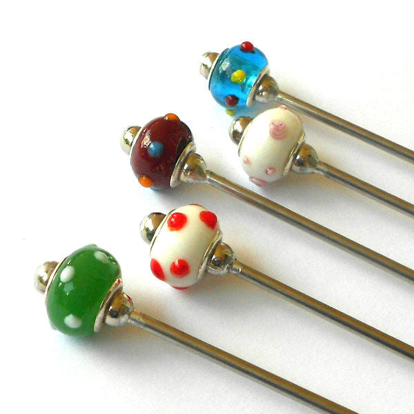 Steel Hair Stick with Raised Dots Design - The Lover's Knot Jewelry