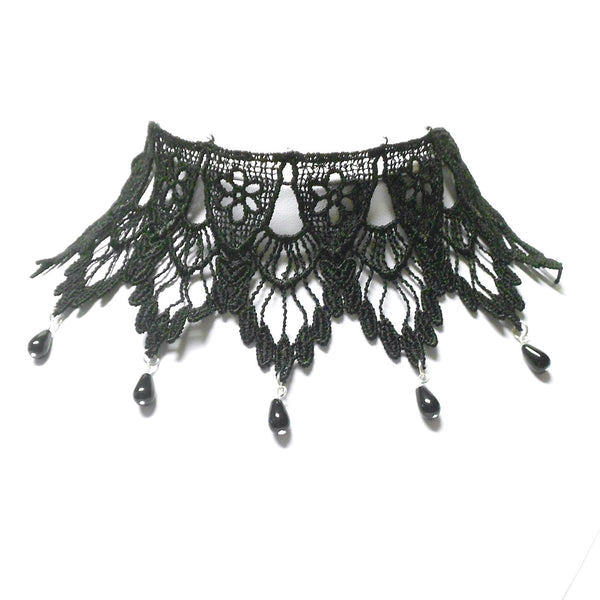 Black Fans Lace Choker with Short Dangles
