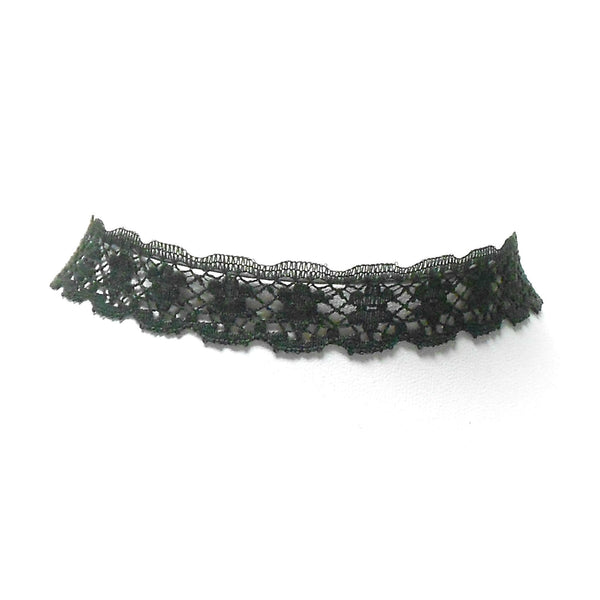 Black Floral Scalloped Lace Choker