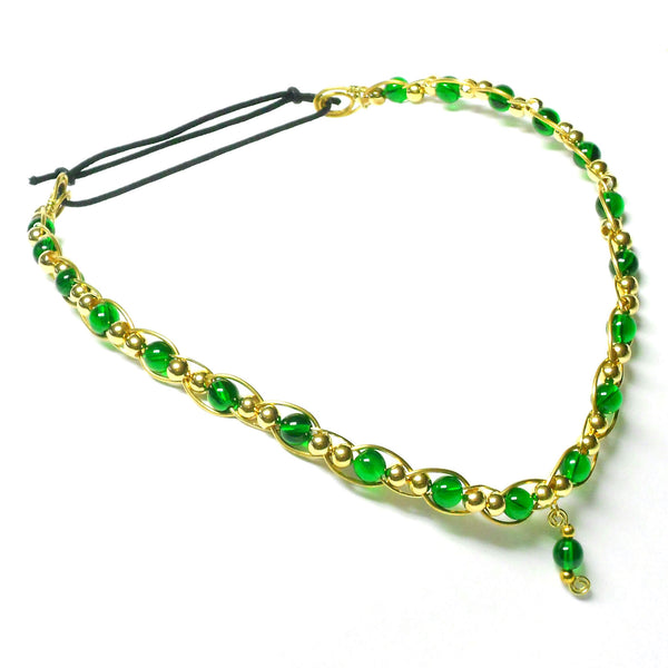 Brass and Glass Circlet - V-Style - The Lover's Knot Jewelry
