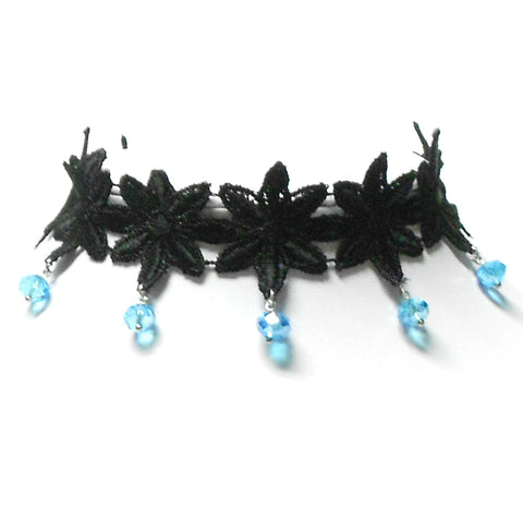 Black Daisy Lace Choker with Short Dangles