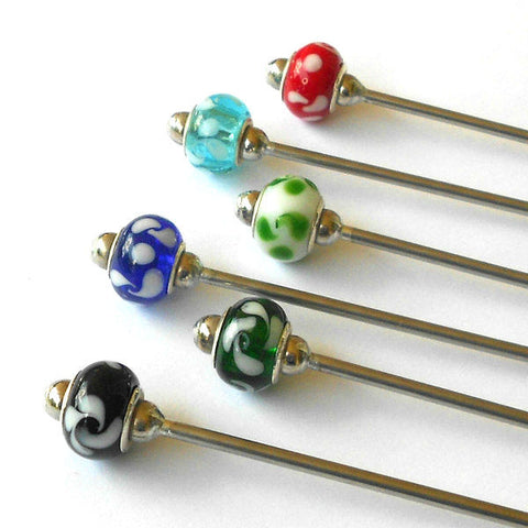 Steel Hair Stick with Floral Swirls