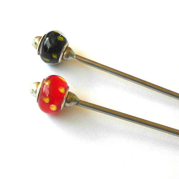 Steel Hair Stick with Gold Dots - The Lover's Knot Jewelry