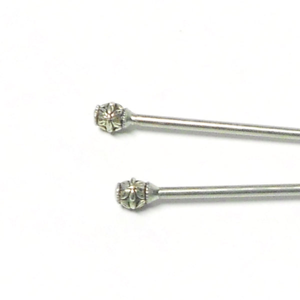 Steel Hair Stick with Floral Design - The Lover's Knot Jewelry