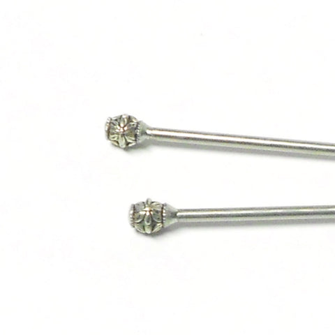 Steel Hair Stick with Floral Design
