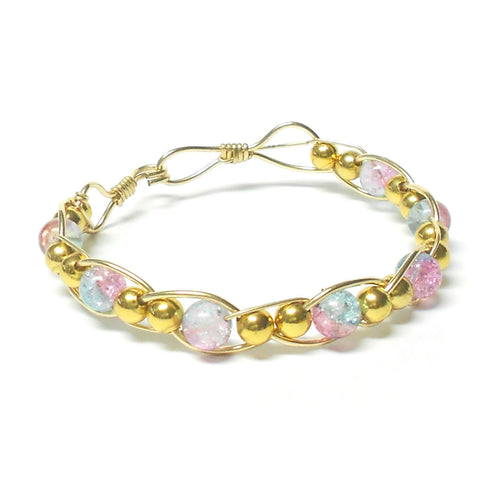 Gold-Fill and Glass Woven Bracelet - Clasped - The Lover's Knot Jewelry