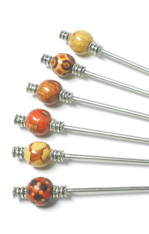 Steel Hair Stick with Multi-Color Wood