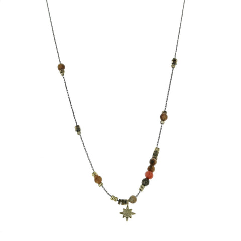 SOMSO: ZAG - Collier ZAG Claudia acier pierres naturelles Brown