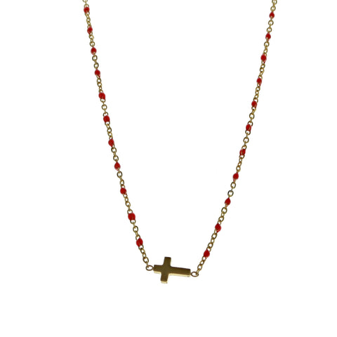 SOMSO: SOMSO - Collier Nusa or jaune / rouge+croix SOMSO