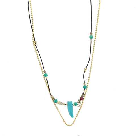 SOMSO: ZAG - Collier ZAG Thea or jaune / Turquoise