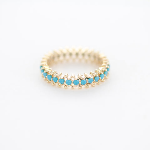 SOMSO: SOMSO - Bague Pixy or jaune et turquoises