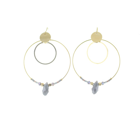 SOMSO: SOMSO - : : Boucles d'oreille SOMSO Carlo or jaune gris : :