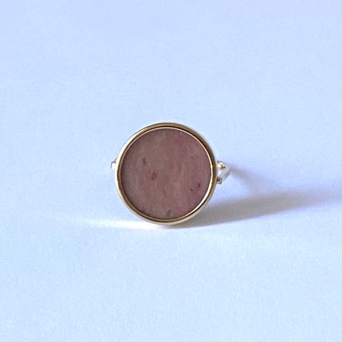 ::Bague Or Tondo / Quartz Rose ::
