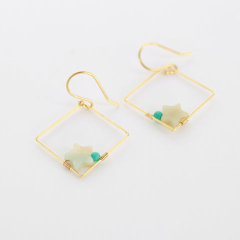 SOMSO: SOMSO - Boucles d'oreilles Carra turquoise