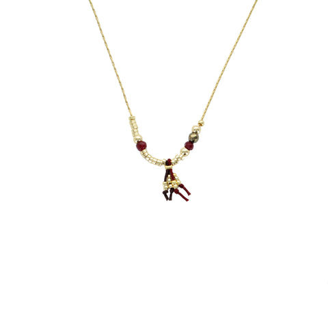 SOMSO: ZAG - Collier ZAG Nelly or jaune bordeaux