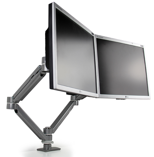 UpDown Series Dual Monitor Double Extension Arm - Silver