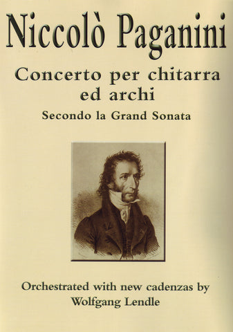 Image of Niccolo Paganini, Concerto per Chitarra ed Archi: Secondo la Grand Sonata (Guitar Part)  (ed. Wolfgang Lendle), Music Book & CD