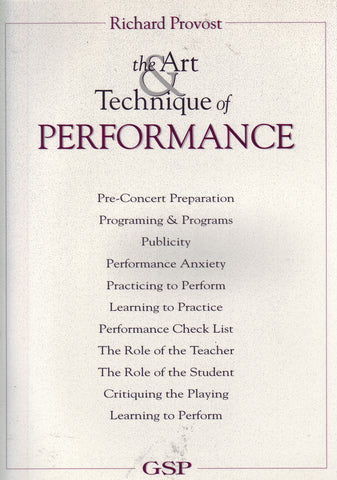 Image of Richard Provost, The Art & Technique of Performance, Book