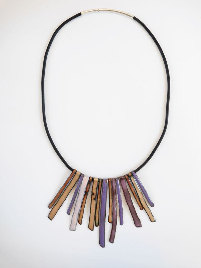 Enamel Rustic Fringe Necklace (orchid and gold)