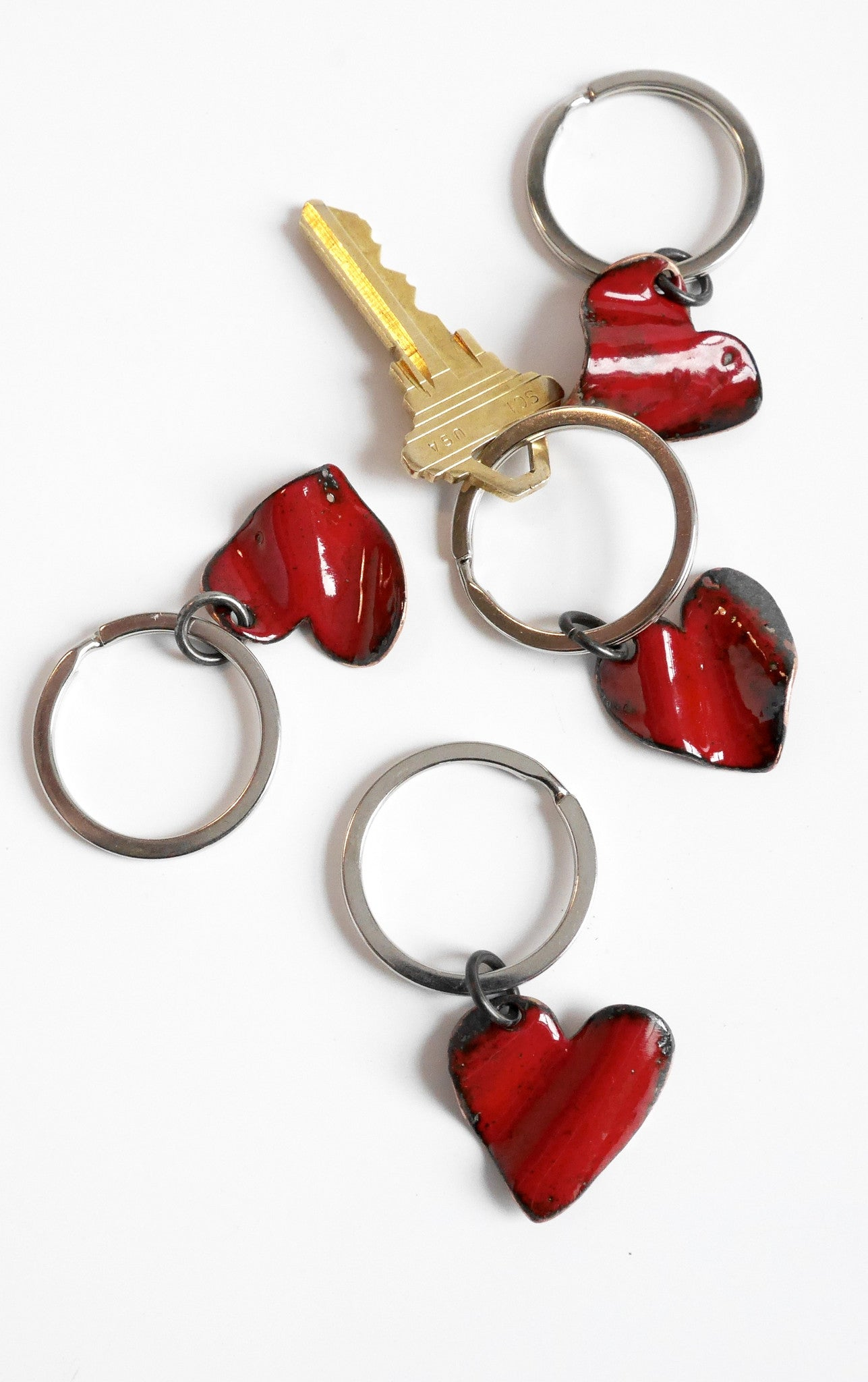 Crushed Enamel Heart Keyring